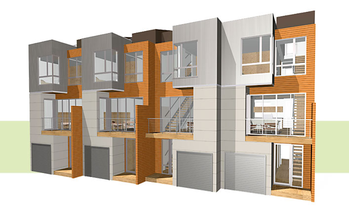 Modern style triplex plans joy studio design gallery for Modern multi family house plans